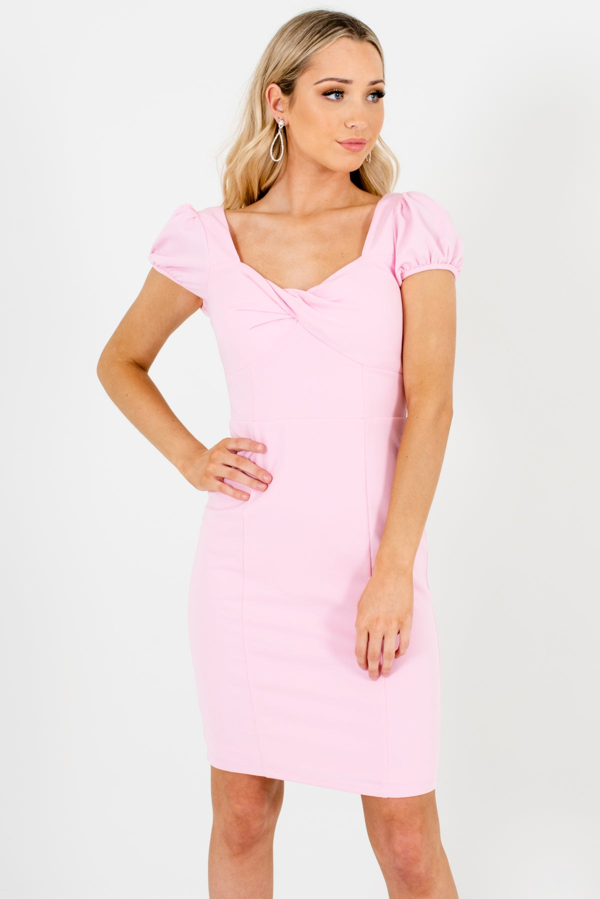 Light Pink High-Quality Stretchy Boutique Mini Dresses for Women