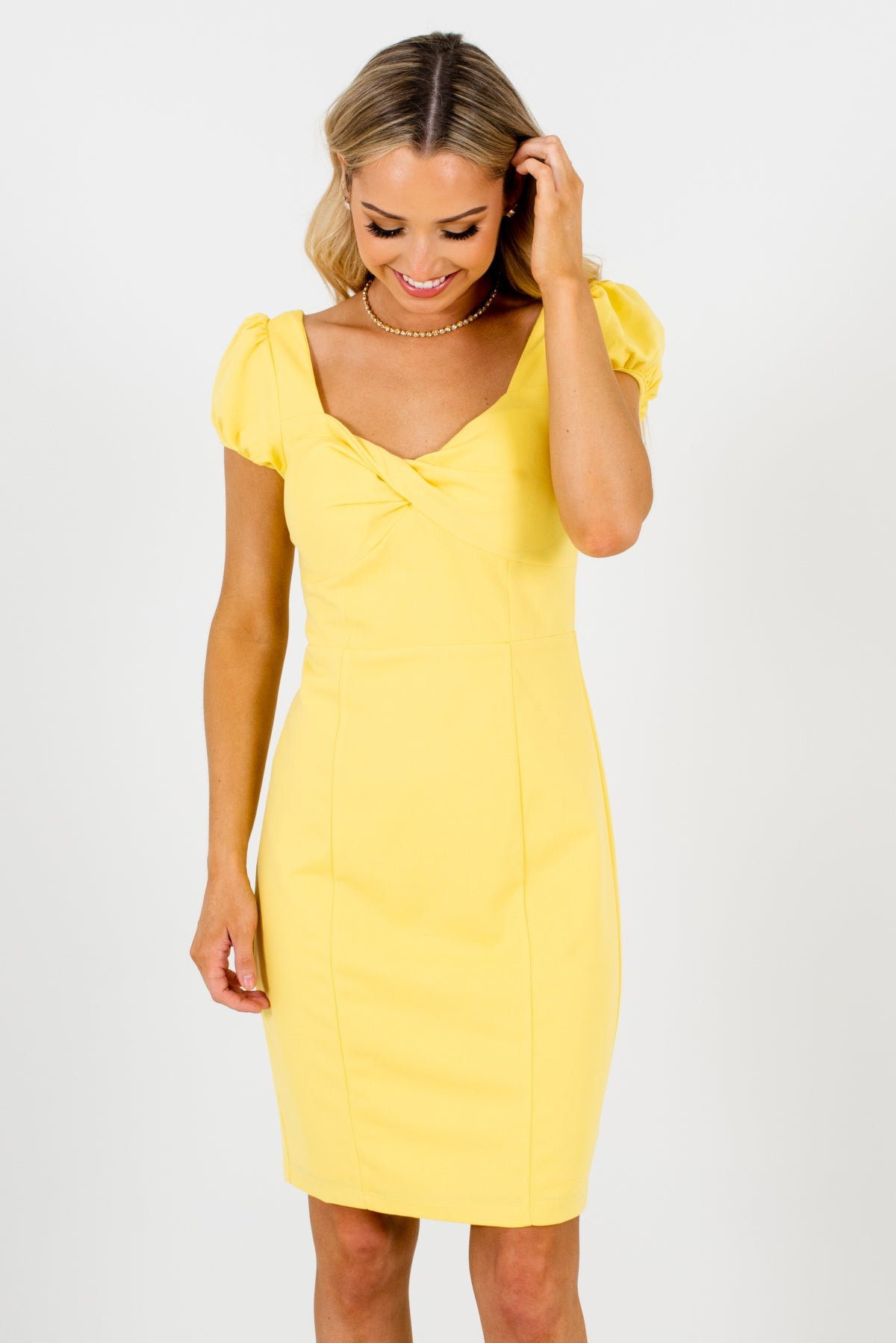 Yellow High-Quality Stretchy Boutique Mini Dresses for Women