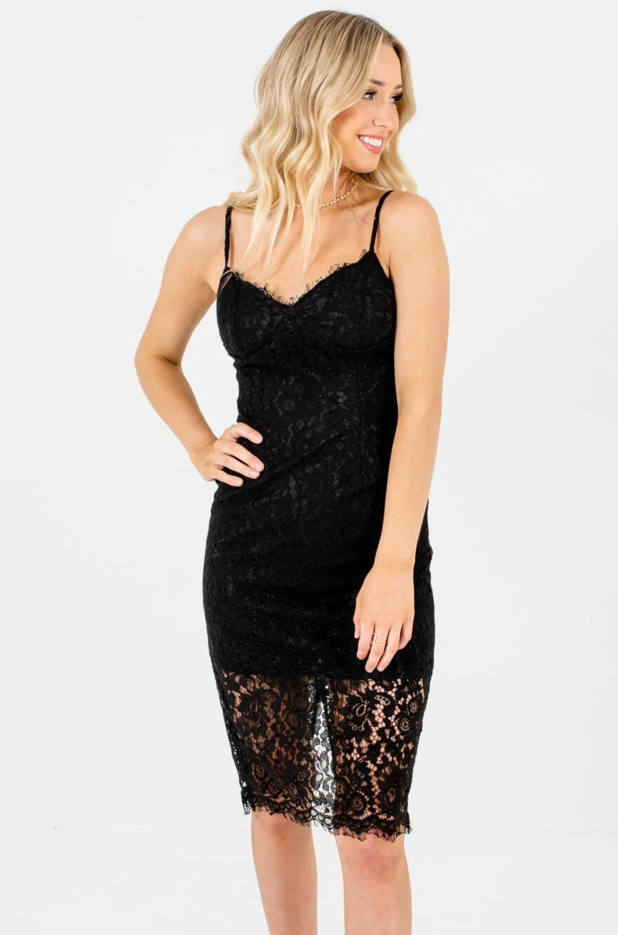 Sexy Black Lace Overlay Dresses Affordable Online Boutique