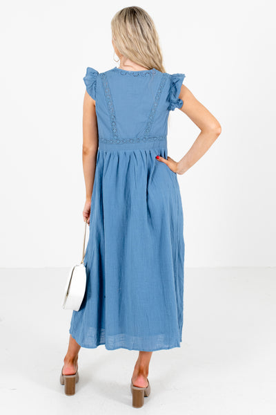 Women's Blue Scalloped V-Neckline Boutique Midi Dress