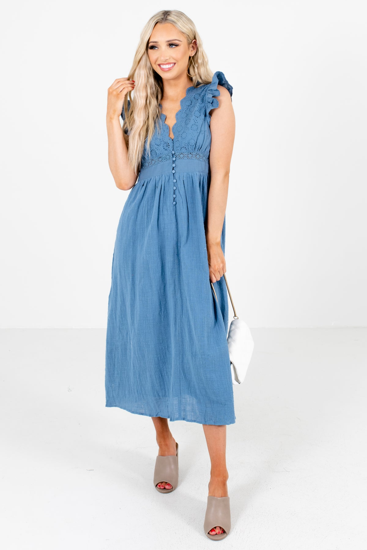 Blue Eyelet Detailed Bodice Boutique Midi Dresses for Women