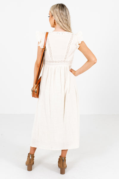 Women's Crochet Lace Detailed Boutique Midi Dress