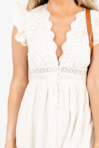 Women's Cream Button-Up Bodice Boutique Midi Dress