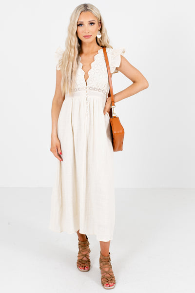 Cream Ruffle Sleeve Boutique Midi Dresses for Women