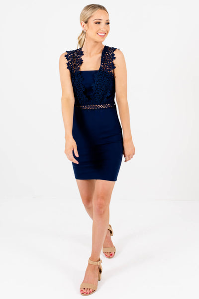 Navy Blue Crochet Lace Tight Bodycon Mini Dresses for Parties