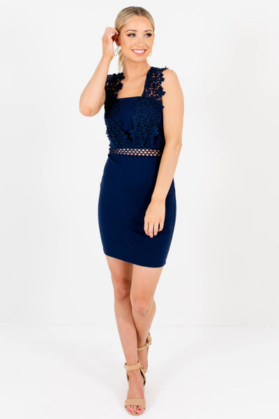 Navy Blue Tight Bodycon Crochet Lace Mini Dresses for Women