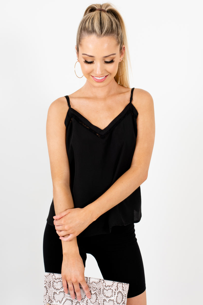 Late Nights Black Satin Cami