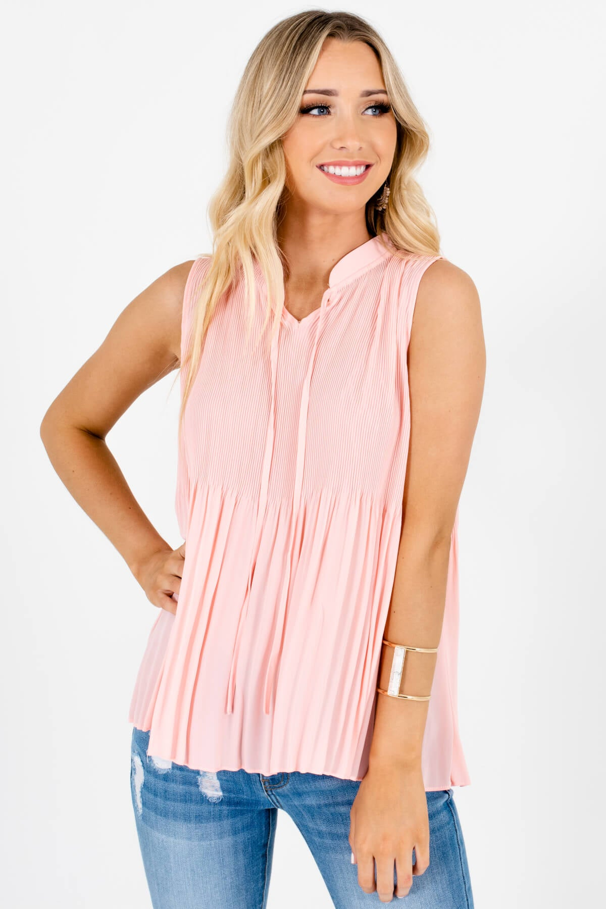 Pink Pleated Tank Tops with Self-Tie Neckline Affordable Online Boutique