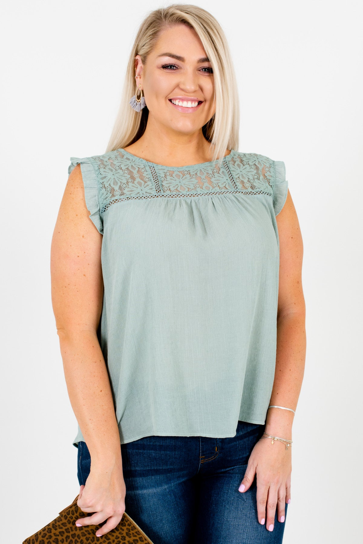 Blue Green Plus Size Lace Ruffle Tank Sleeve Semi Sheer Tops