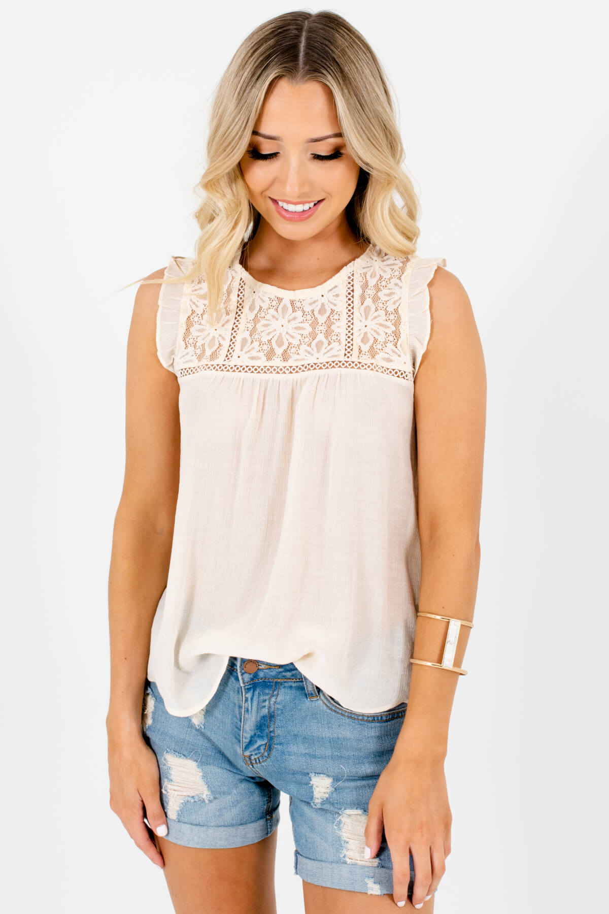 Cream Lace Ruffle Sleeve Tops Affordable Online Boutique