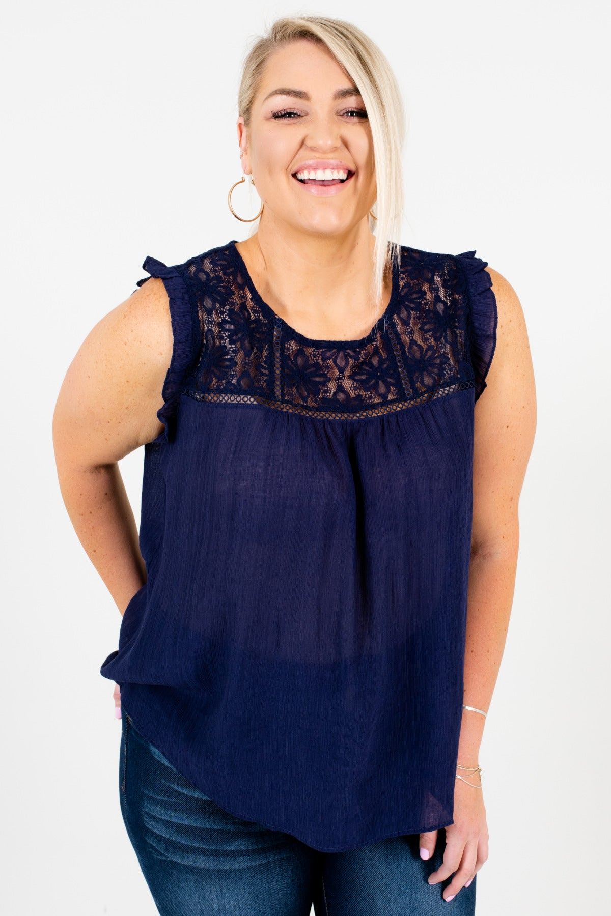 Navy Blue Plus Size Lace Button Up Back Ruffle Tops