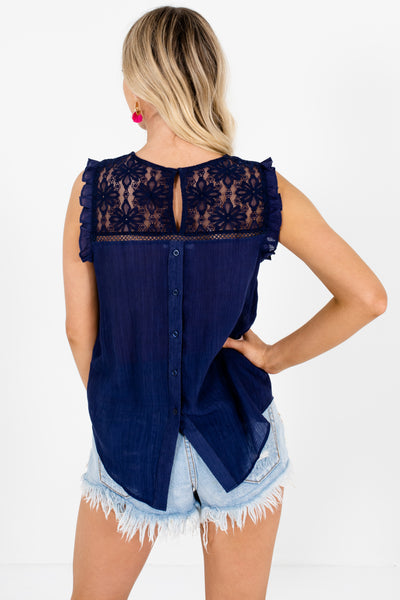 Navy Blue Lace Ruffle Tops Affordable Online Boutique