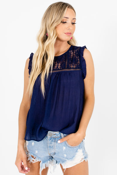 Navy Blue Lace Ruffle Embroidered Tops Affordable Online Boutique