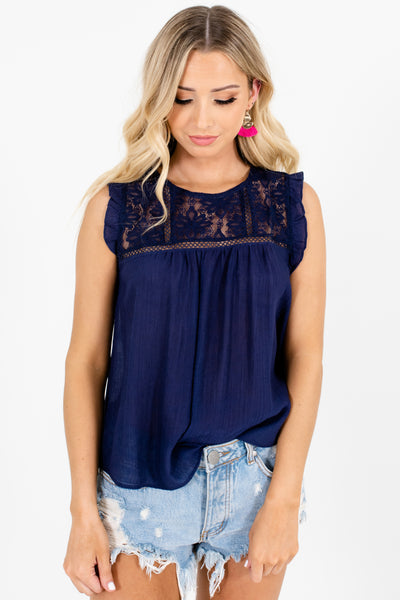 Navy Blue Lace Ruffle Sleeve Embroidered Tank Tops for Women