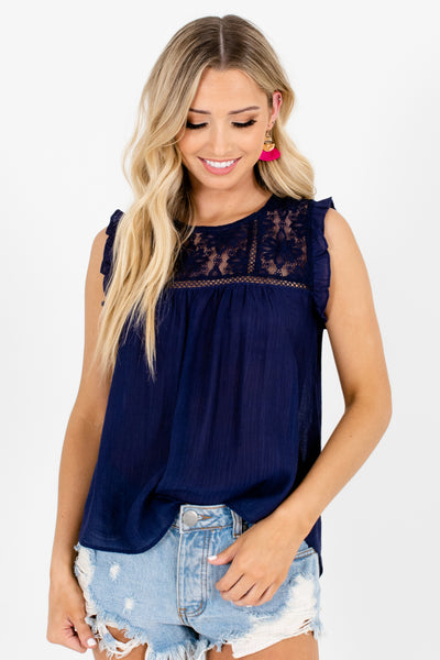 Navy Blue Lace Tops with Ruffle Sleeves and Embroidery