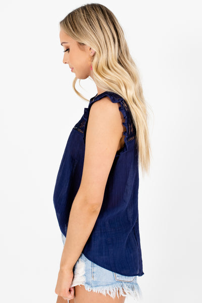 Navy Blue Ruffle Lace Tops Affordable Online Boutique