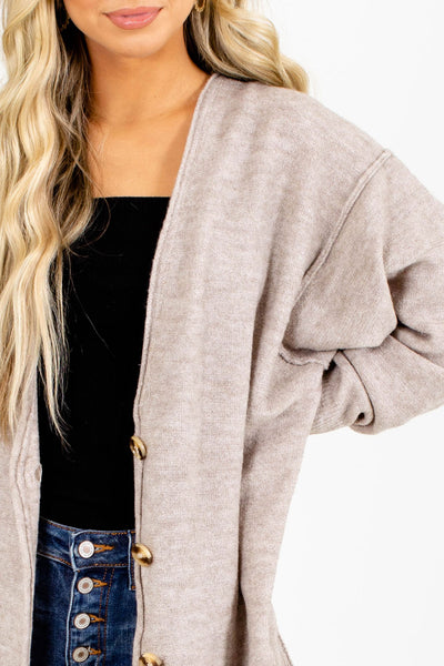 Beige Boutique Cardigan Vest for Fall