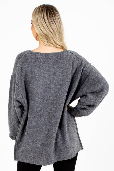 Women's Gray High-Quality Boutique Cardigan