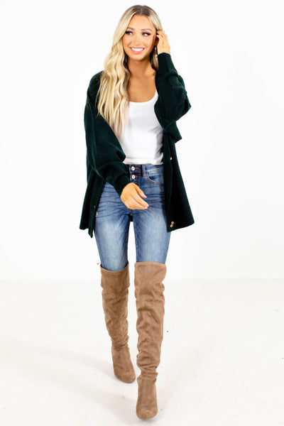 Green Knit Cardigan for Women