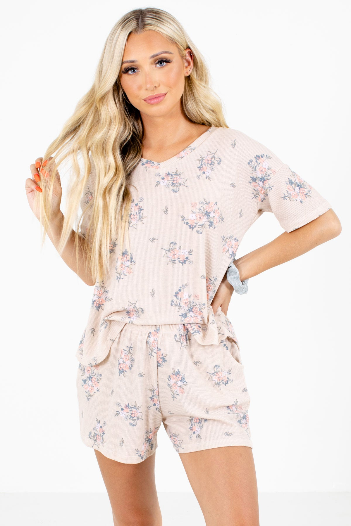 Taupe Multicolored Floral Patterned Boutique Two-Piece Sets for Women