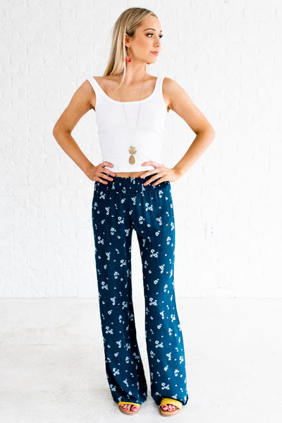 Women's Teal Blue Smocked Elastic Waistband Boutique Pants