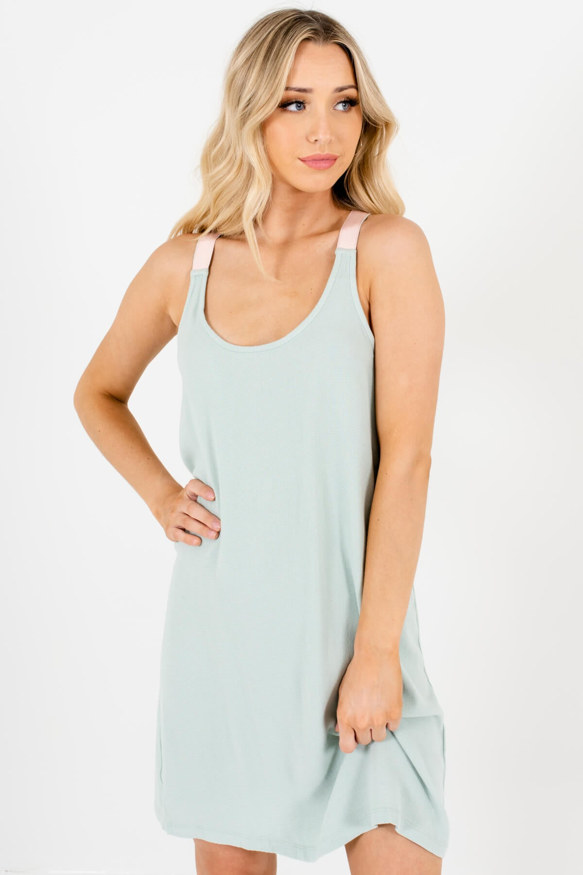 Mint Blue Baby Pink Colorblock Cover-Up Mini Dresses for Women