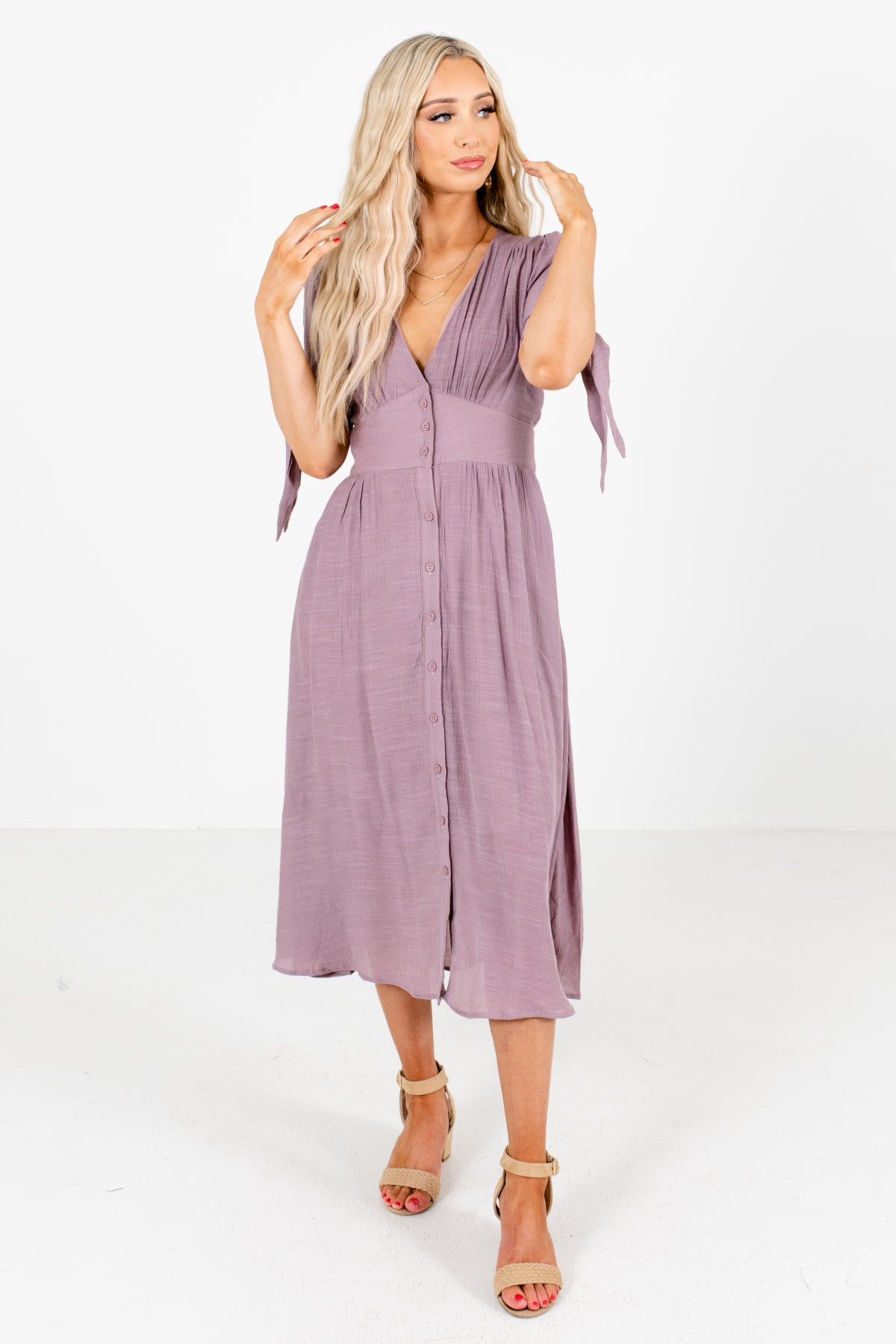 Purple Button-Up Front Boutique Midi Dresses for Women