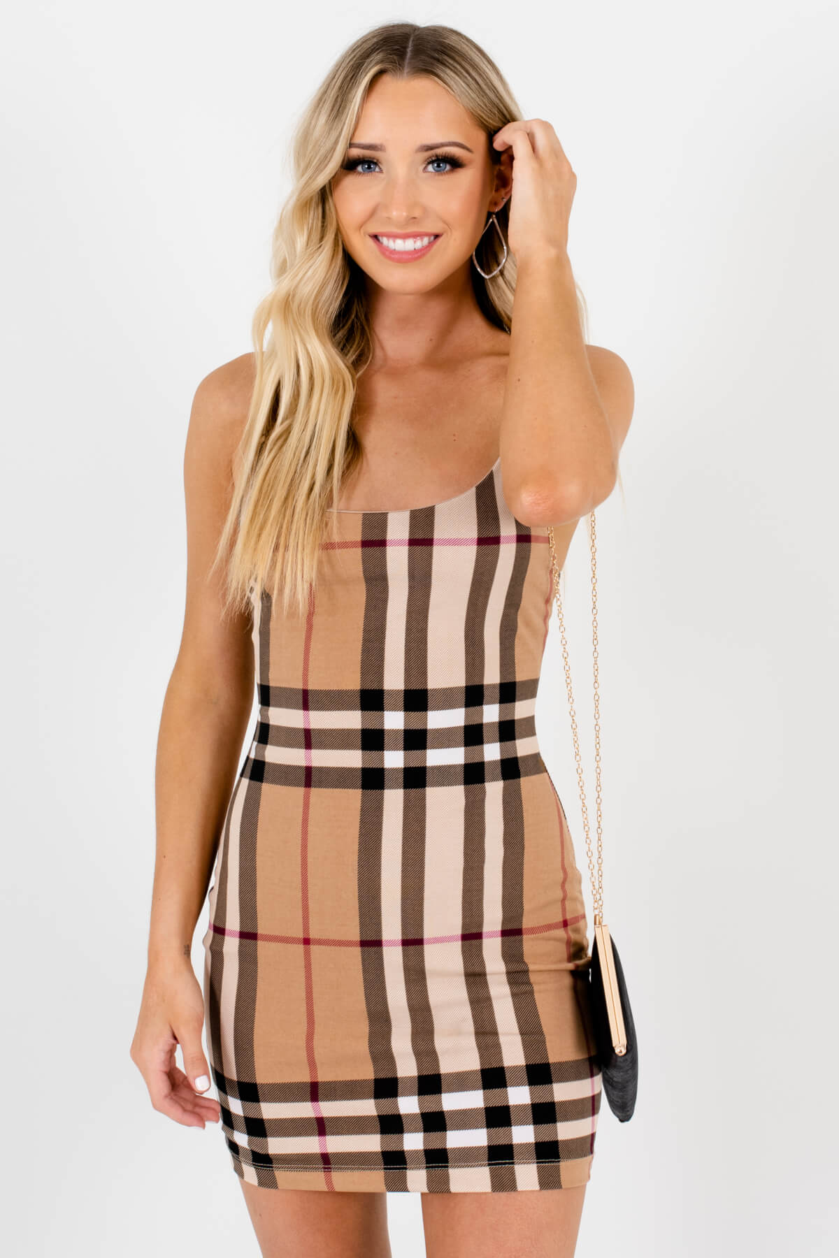 Brown Multicolored Plaid Patterned Boutique Mini Dresses for Women