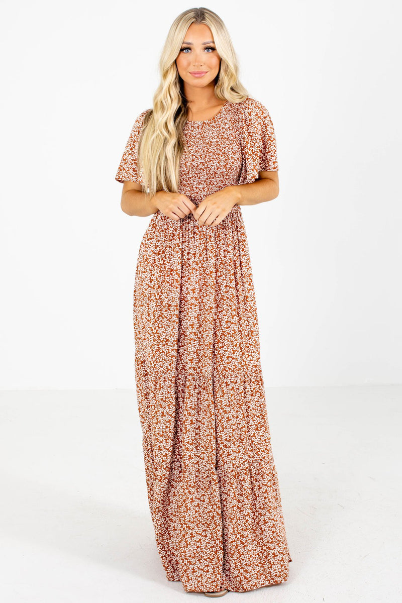 Leave Them Speechless Rust Floral Maxi Dress