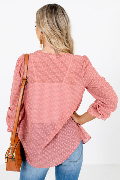Women's Pink Polka Dot Textured Material Boutique Blouse