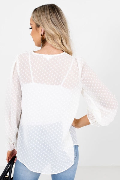 Women's White Semi-Sheer Material Boutique Blouse
