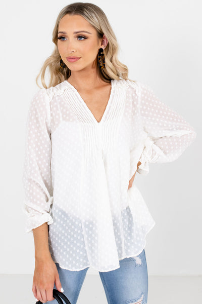 White Ruffled Cuff Boutique Blouses for Women