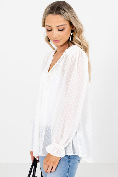 Women's White Business Casual Boutique Blouses