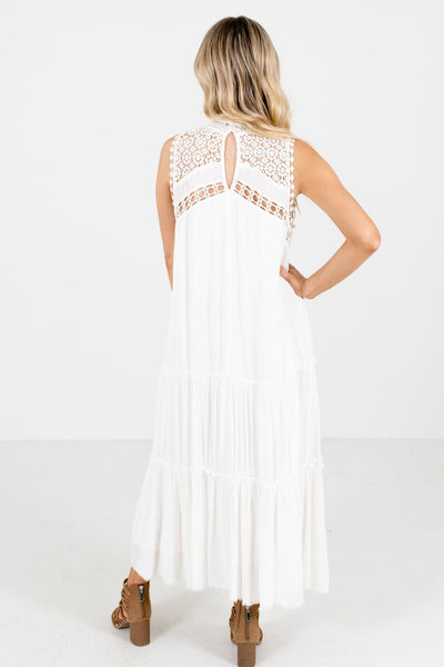 Women's White Keyhole Back Boutique Maxi Dress