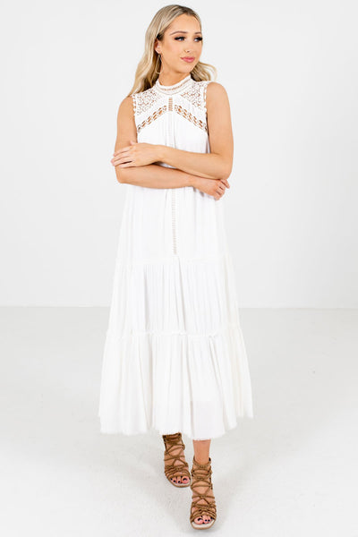 Women's White Flowy Silhouette Boutique Maxi Dress