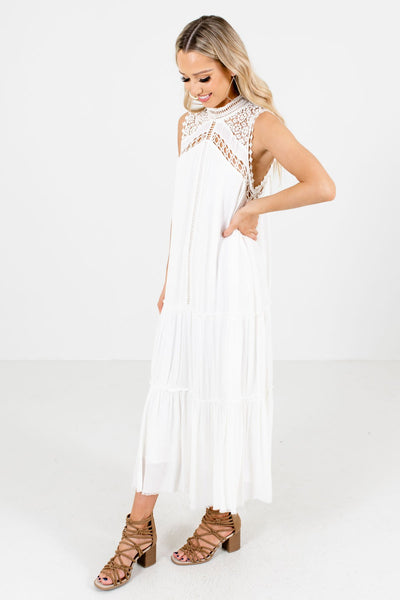 White Fully Lined Boutique Maxi Dresses for Women