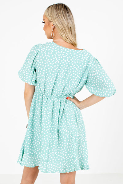 Sage Green Puff Sleeve Boutique Mini Dresses for Women