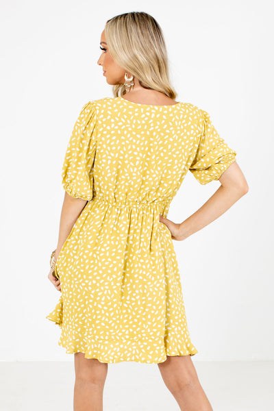 Women's Yellow Elastic Waistband Boutique Mini Dress