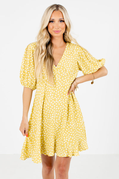 Yellow and White Boutique Mini Dresses for Women