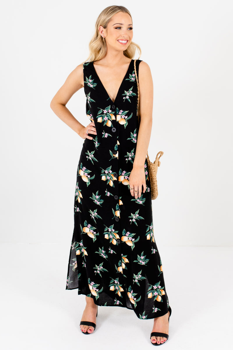 Lemon Love Black Button-Up Maxi Dress