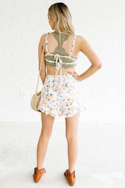 White Lemon Print Bralette and Shorts Two-Piece Co-Ord Sets