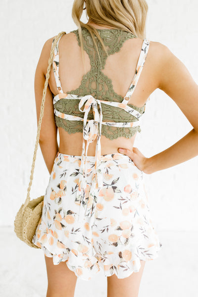 White Lemon Print Bralette Top and Shorts Two-Piece Set Boutique