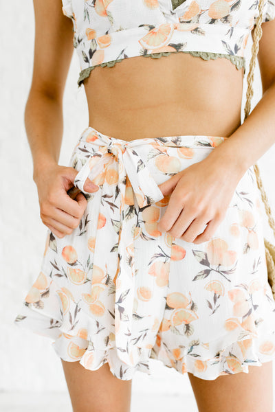 White Yellow Lemon Print Boutique Two-Piece Sets with Bralette and Shorts