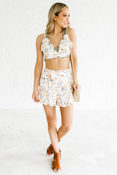White Lemon Print Two-Piece Sets Affordable Online Boutique Co-Ord Outfits