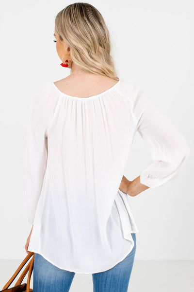 Women's White Tassel Tie Accented Boutique Blouse
