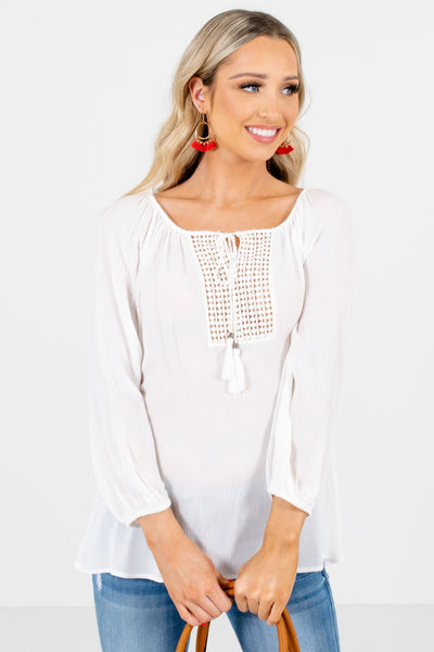 Women's White High-Quality Lightweight Material Boutique Blouse