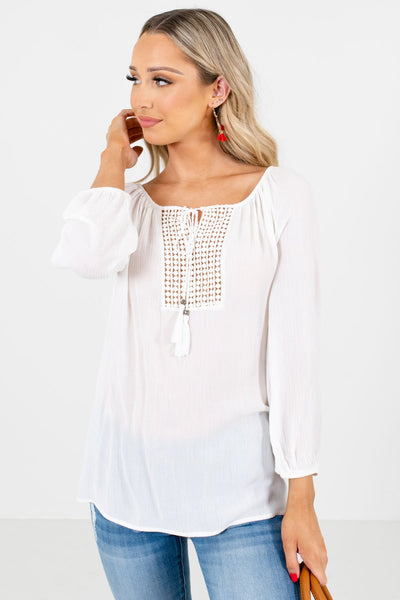 White Crochet Detailed Boutique Blouses for Women
