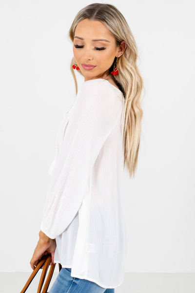 White Long Sleeve Boutique Blouses for Women
