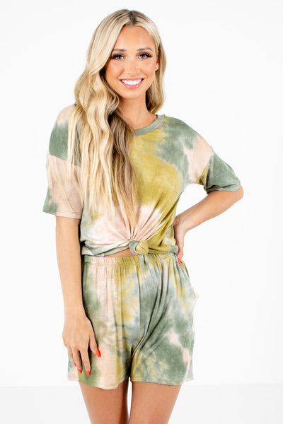Green Tie-Dye Print Boutique Two-Piece Sets for Women