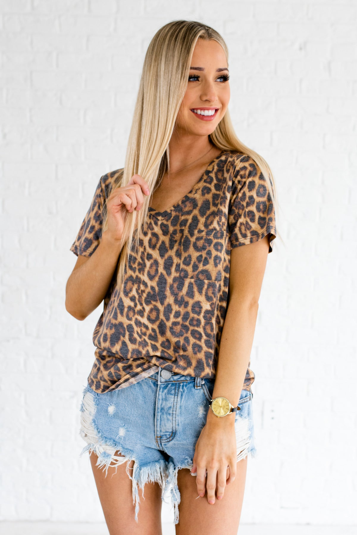 c55e95f513f39 Let Loose Beige Leopard Print Tee | Animal Print Boutique Tops